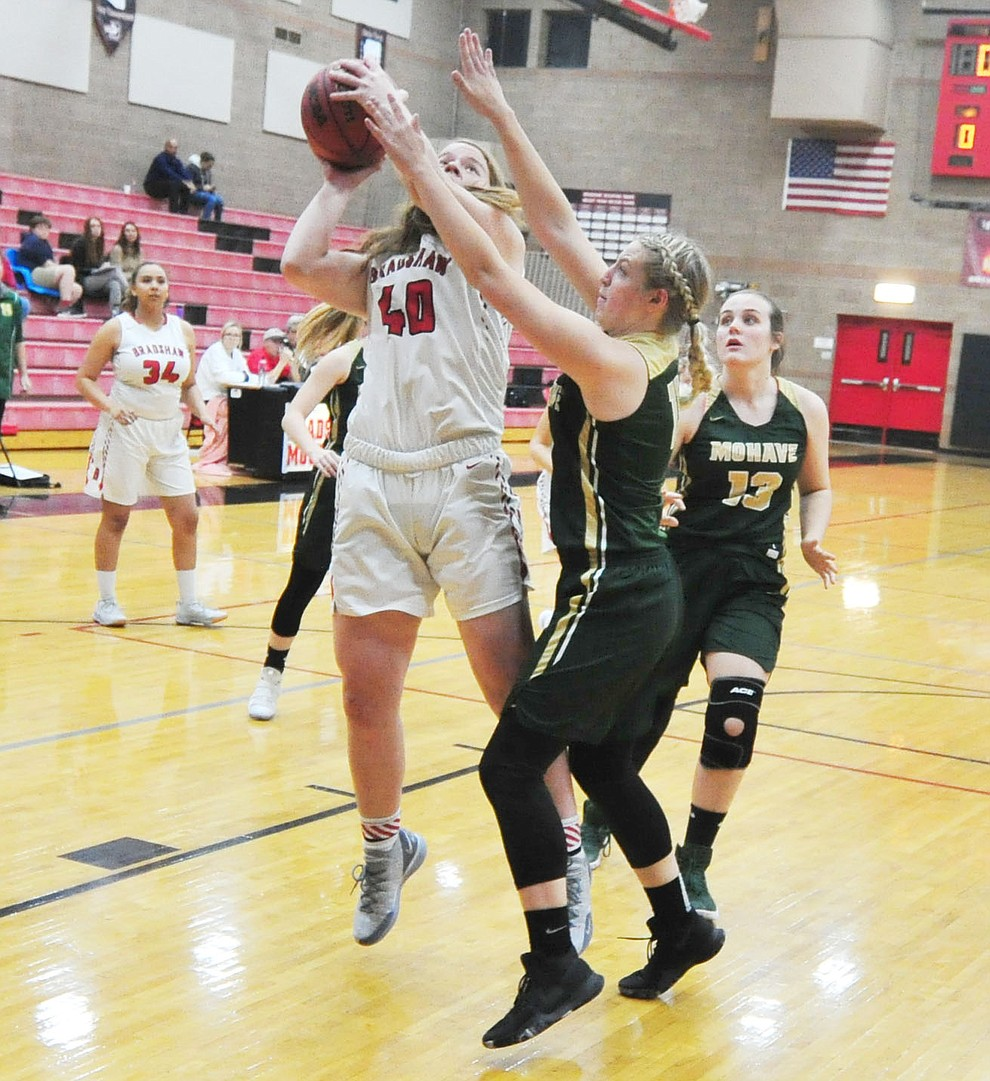 Bradshaw Mountain's Delanie Clark powers up for a shot as the Bears host the Mohave Thunderbirds in a basketball matchup Friday night in Prescott Valley. (Les Stukenberg/Courier).