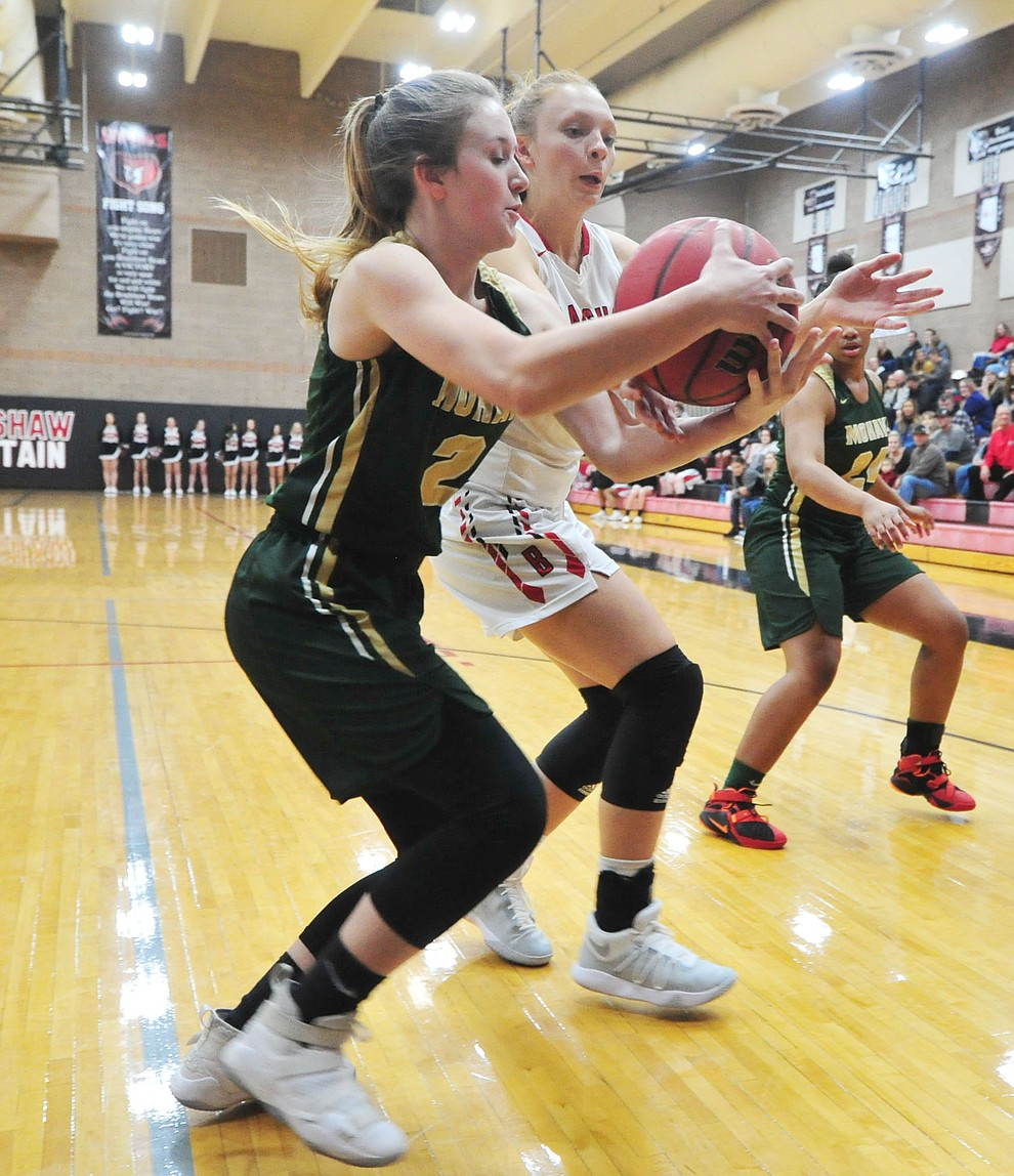 Bradshaw Mountain's Rylee Bundrick battles for the ball as the Bears host the Mohave Thunderbirds in a basketball matchup Friday night in Prescott Valley. (Les Stukenberg/Courier).