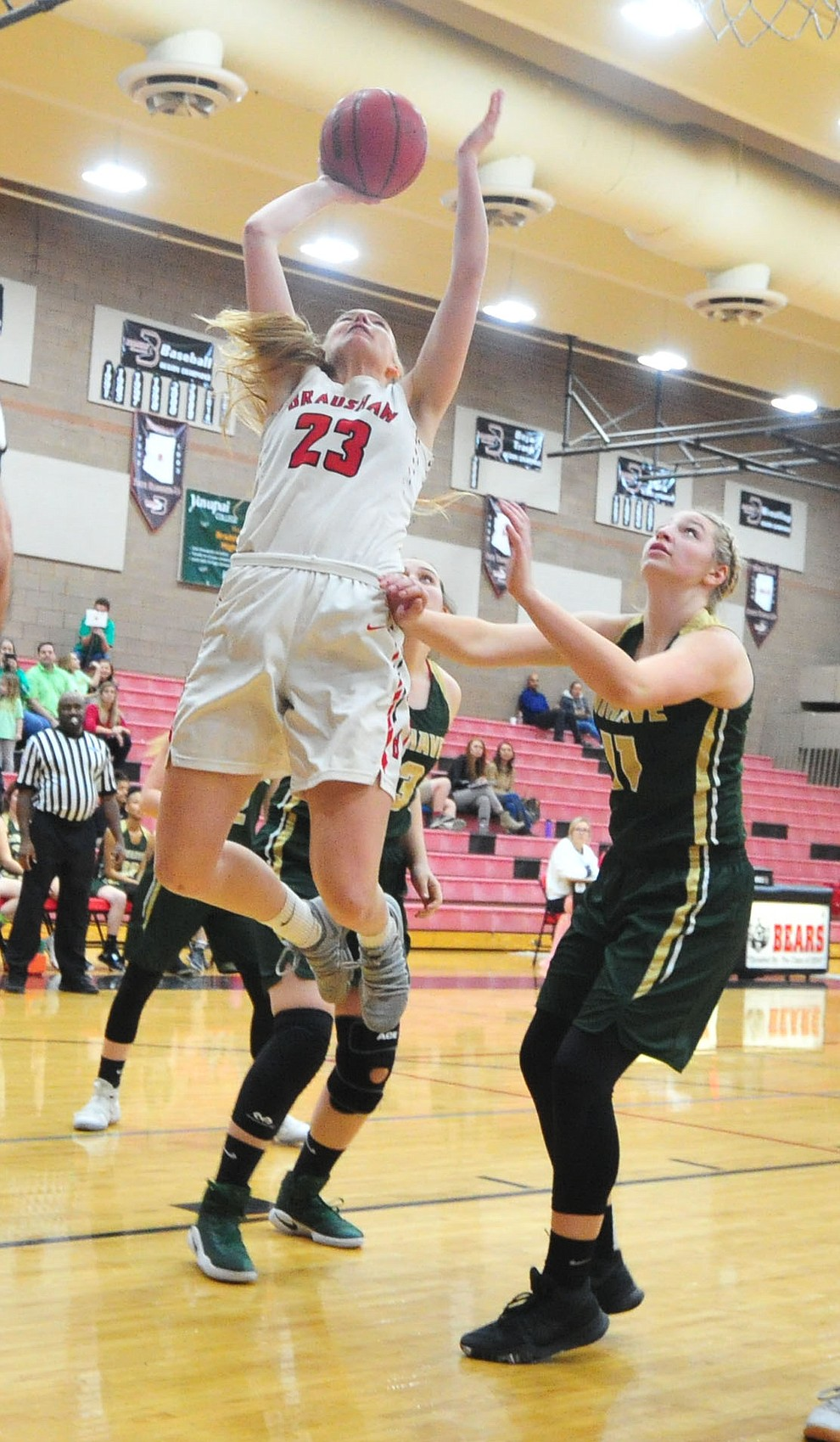 Bradshaw Mountain's Rylee Bundrick sends up a shot as the Bears host the Mohave Thunderbirds in a basketball matchup Friday night in Prescott Valley. (Les Stukenberg/Courier).