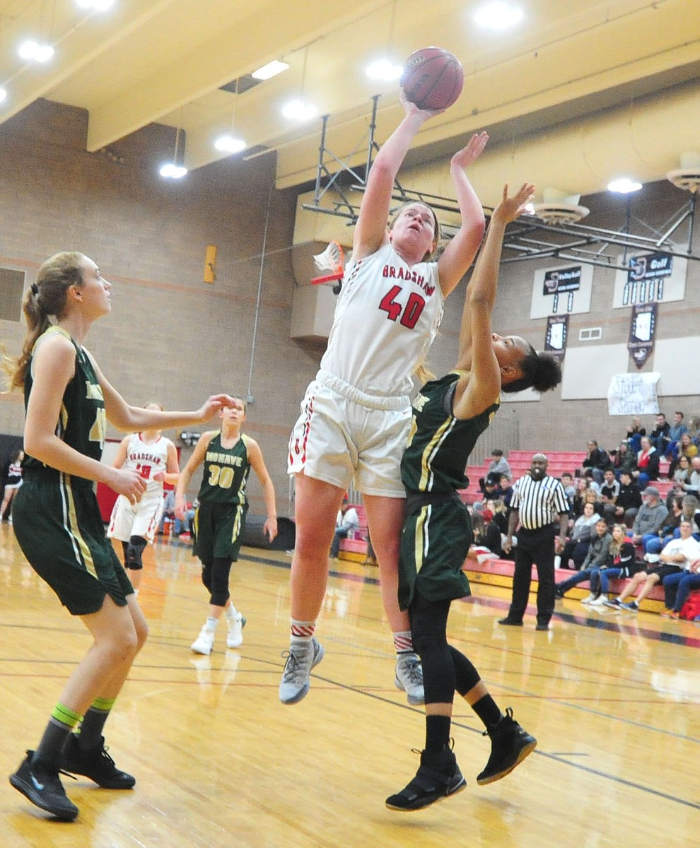 Bradshaw Mountain's Delanie Clark takes a shot from the lane as the Bears host the Mohave Thunderbirds in a basketball matchup Friday night in Prescott Valley. (Les Stukenberg/Courier).