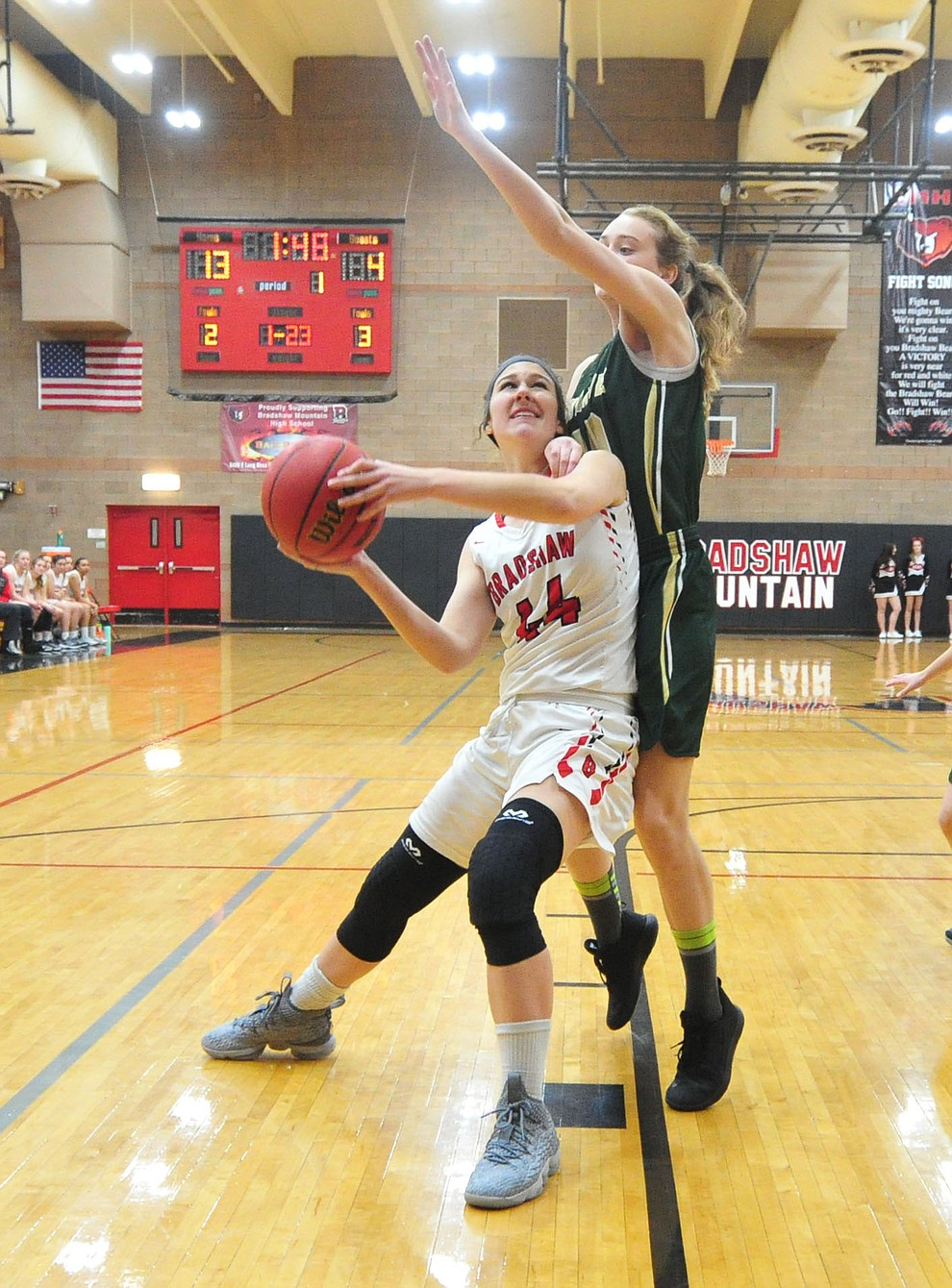 Bradshaw Mountain's Kacie Clinton looks for an open shot as the Bears host the Mohave Thunderbirds in a basketball matchup Friday night in Prescott Valley. (Les Stukenberg/Courier).
