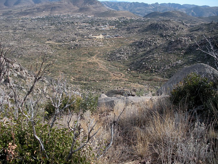 View down from the Observation Deck, with Yarnell in the distance and the circular fatality site of the Hotshots in the middle. (Nigel Reynolds/Courtesy)