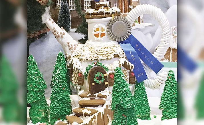 First place in the family category, a gringerbread teapot house, in the 26th annual Gingerbread Village Dispay at the Prescott Resort, 1500 E. Highway 69. The display is open through Jan. 1. (Matthew Van Doren/Courier)
