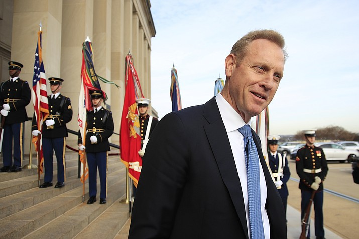 Deputy Defense Secretary Patrick Shanahan, speaks to reporters on the steps of the River entrance of the Pentagon on Wednesday, Dec. 19, 2018. President Donald Trump says Defense Secretary Jim Mattis will leave his post on Jan. 1. Trump announced Mattis' new departure date in a tweet, and said he's naming deputy defense chief Patrick Shanahan as acting secretary. (Manuel Balce Ceneta, file/AP)