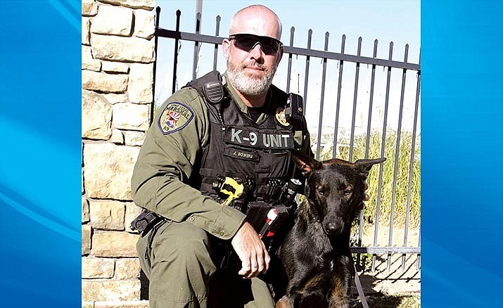 Dep. Jeff Bowers with Badge, the K-9 officer who is being trained to replace Claymore, who will retire from the Camp Verde Marshal's Office. VVN/Bill Helm