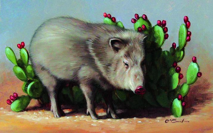 """""""Desert Gardener"""" by Jennifer O'Cualain, 5 x 7 oil"""