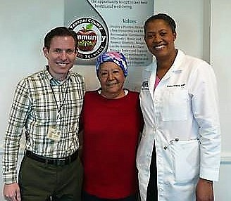 Ubalda Juarez-Paulino, center, poses with Kevin Goss, left, CHCY business manager, and Suzie Viaud, FNP.(Courtesy/Yavapai County Health Center)