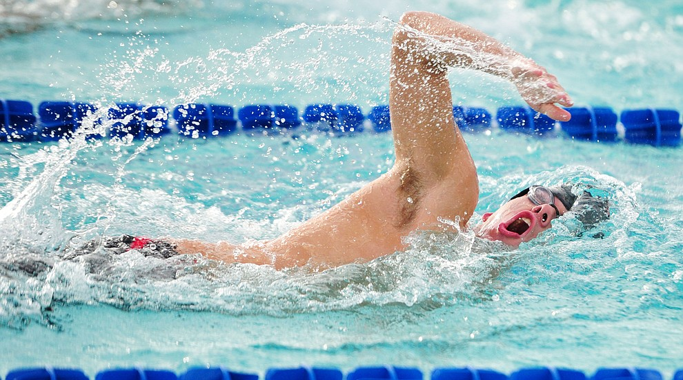 Bradshaw Mountain's David Schumacher swims the freestyle in the medley relay during a dual meet against Dysart Thursday, Oct. 11, 2018 at Mountain Valley Splash in Prescott Valley. (Les Stukenberg/Courier)