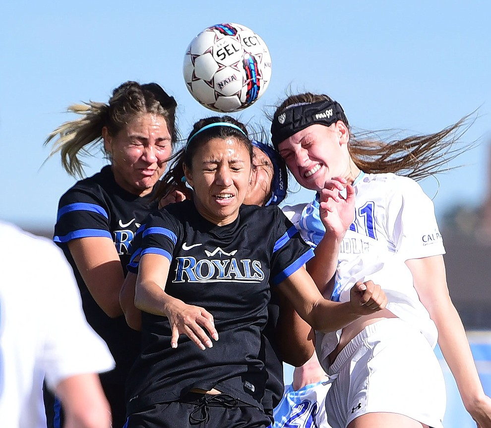 Embry Riddle's Adri Jackson heads the ball as the Eagles take on Hope International in the first round of the NAIA National Championship Tournament in Prescott Saturday, November 17, 2018. (Les Stukenberg/Courier).