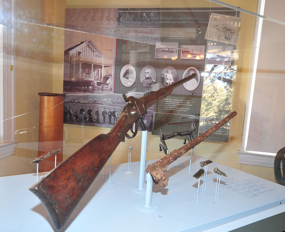 Early rifle and other artifacts on display at the Fort Whipple Museum on the grounds of the Northern Arizona VA Medical Center in Prescott. (Les Stukenberg/Courier).