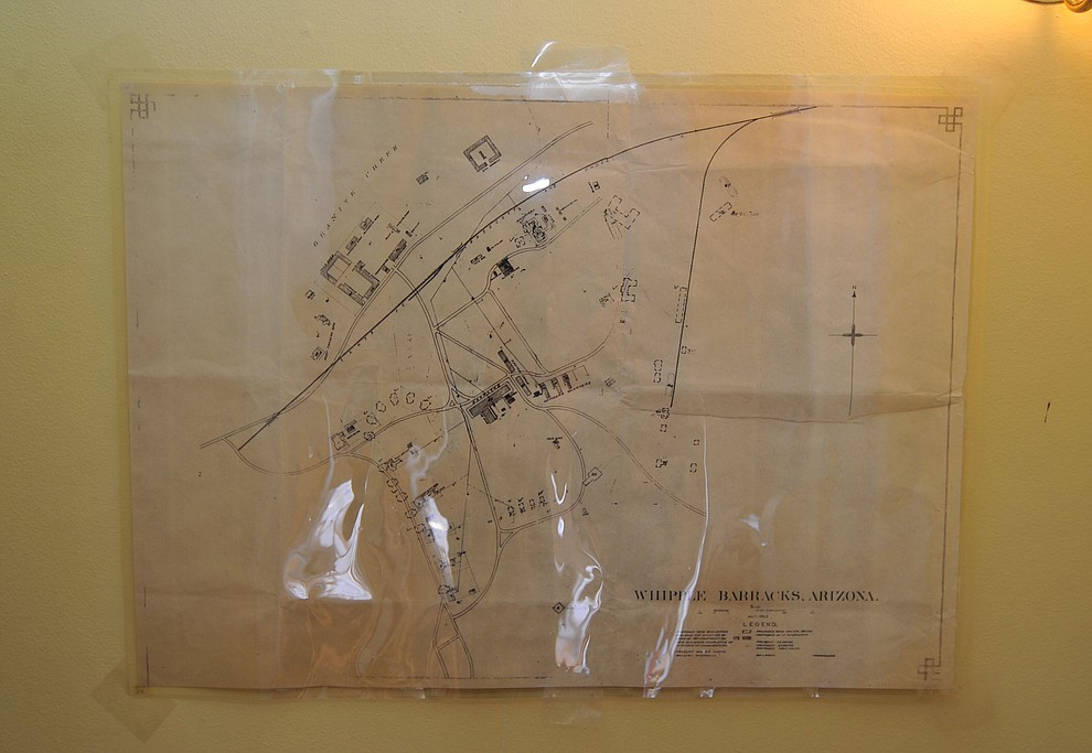 An early diagram map of Fort Whipple on display at the Fort Whipple Museum on the grounds of the Northern Arizona VA Medical Center in Prescott. (Les Stukenberg/Courier).