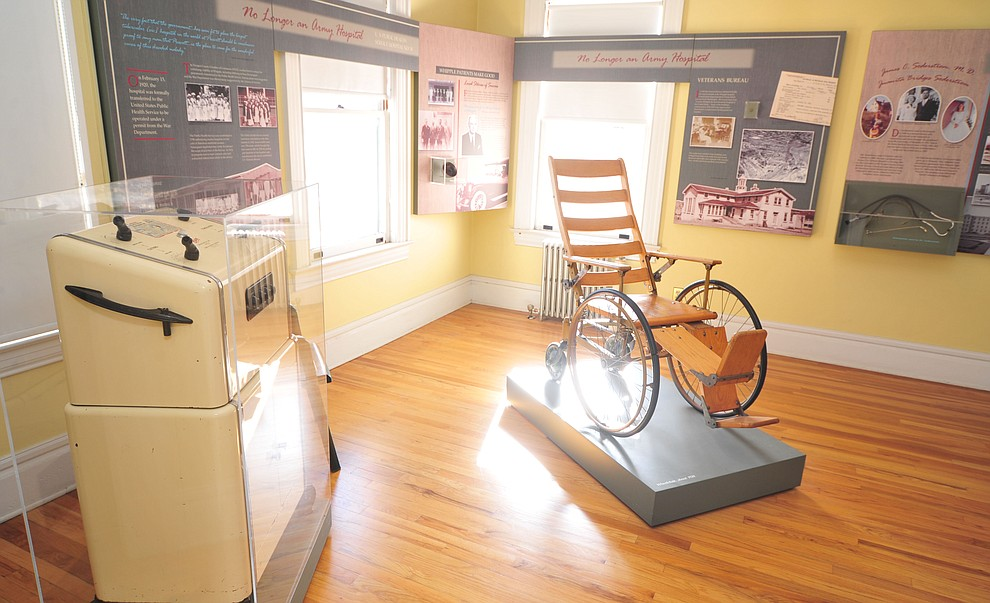 An electrosurgical unit and a 1920's circa wheelchair at the Fort Whipple Museum on the grounds of the Northern Arizona VA Medical Center in Prescott. (Les Stukenberg/Courier).