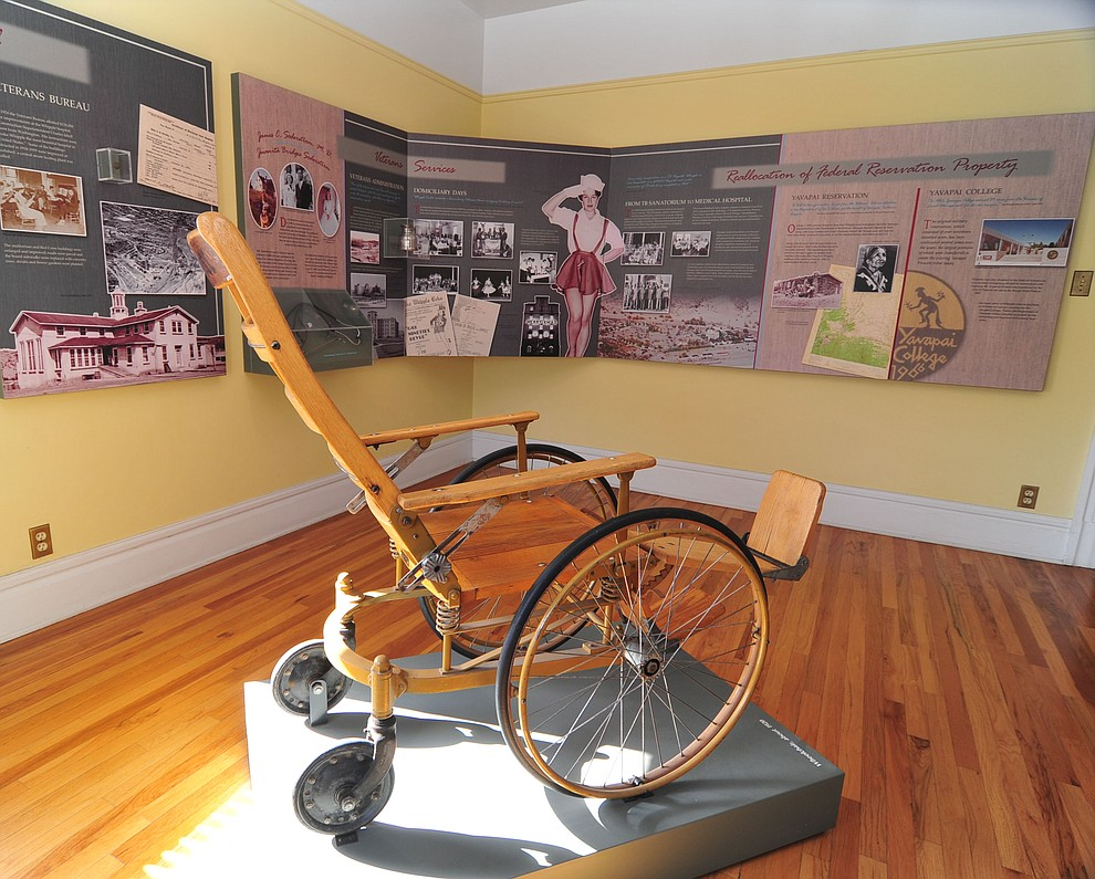 A 1920's circa wheelchair at the Fort Whipple Museum on the grounds of the Northern Arizona VA Medical Center in Prescott. (Les Stukenberg/Courier).