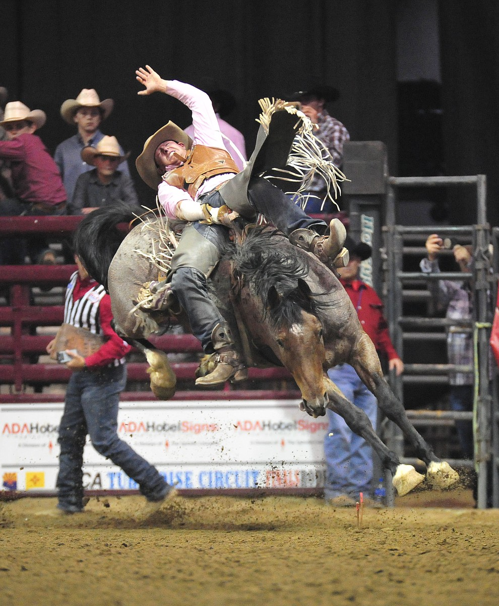 Shon Gibson on Gully Washer scores 77.5 in the bareback riding at the Turquoise Circuit Final Rodeo Saturday, Oct. 6, 2018 at the Prescott Valley Event Center. (Les Stukenberg/Courier)