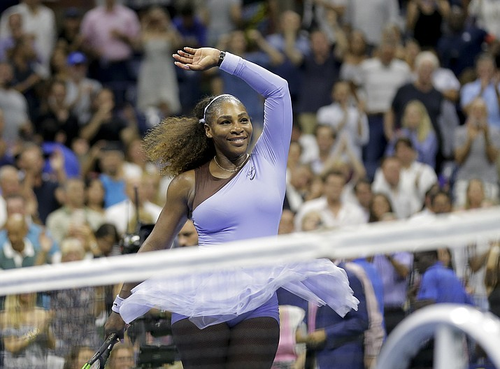 In this Sept. 6, 2018, file photo, Serena Williams celebrates after defeating Anastasija Sevastova, of Latvia, during the semifinals of the U.S. Open tennis tournament, in New York. Serena Williams was named The Associated Press Female Athlete of the Year on Wednesday, Dec. 26, 2018. (Seth Wenig/AP, File)