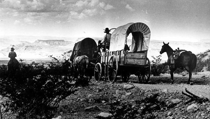 Bicentennial Wagon Trek at Pipe Springs National Monument. Brigham Johnson on horse, Dennis Judd on wagon.(Photo courtesy Mohave Museum of History and Arts)