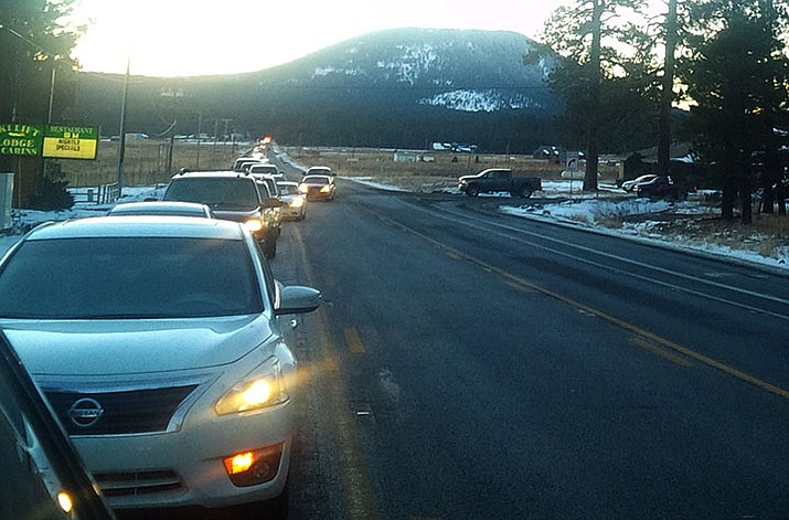 A Highway 180 backup near the Arizona Snowbowl turnoff after a 2015 snowstorm. (Arizona Department of Transportation/Courtesy)