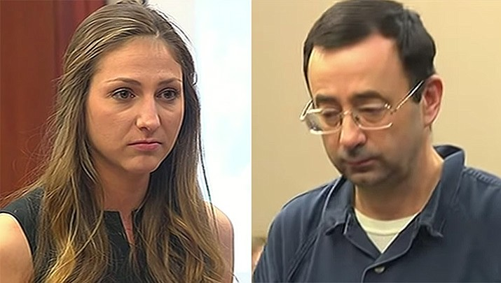 Kyle Stephens, left, was the first victim of nearly 100 to speak Jan. 16, 2018 at a sentencing hearing for former doctor Larry Nassar, who pleaded guilty to molesting females at his Michigan State University office, his home and a Lansing-area gymnastics club, often while their parents were in the room. (File photo)
