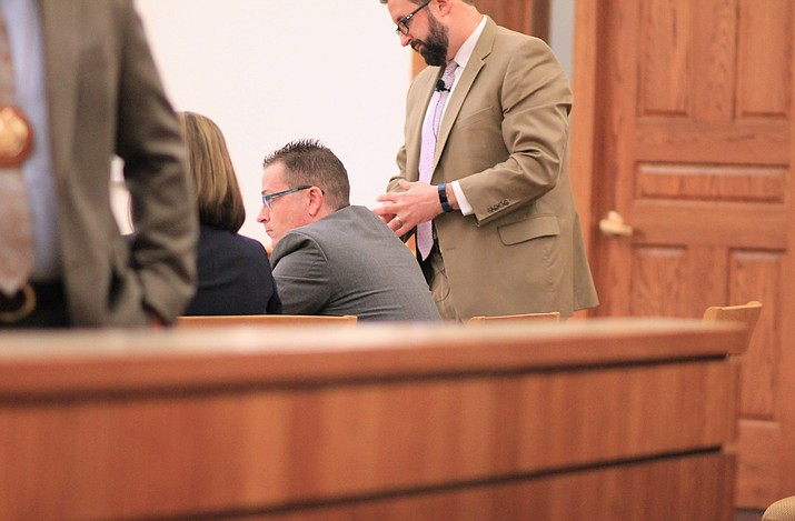 Jowell Gutierrez waits in court during his trial for shooting at Williams Police officers in November 2017.