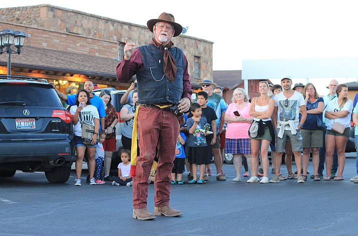 The Cataract Creek Gang performs a skit for tourists in June 2018. Marketing contractor Heather Hermen said she plans to continue capitalizing on the cowboy culture to draw tourists to Williams.