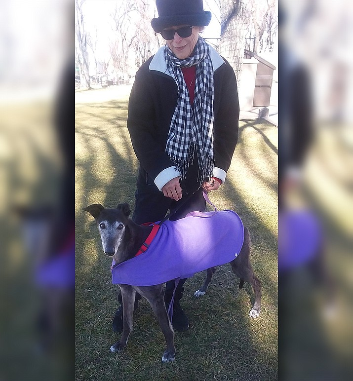 If it is cold, bundle up like Maggie Sue and her mom, Malinda McGrath. Maggie is a retired greyhound from the race track, fortunate to have a wonderful retirement home. (Courtesy)