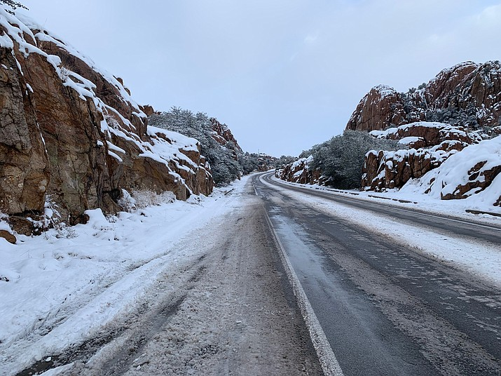 Road conditions at the Dells in Prescott. (Blake DeWitt/Courier)
