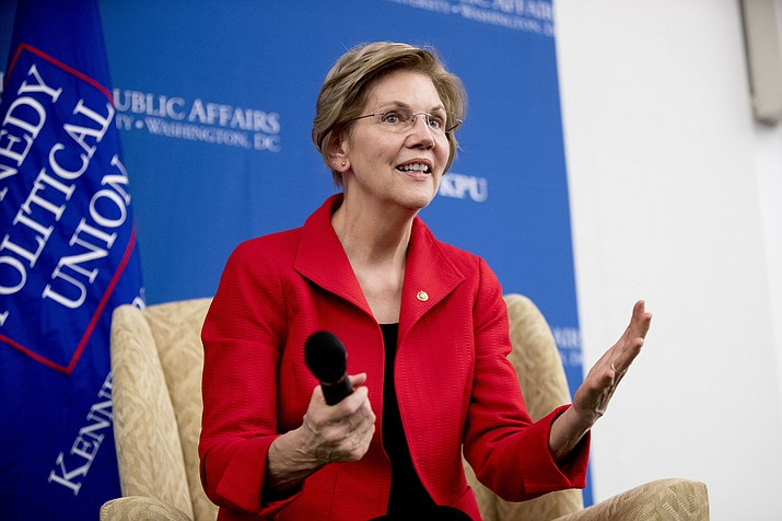 Sen. Elizabeth Warren, D-Mass., answers questions Nov. 29, 2018, at the American University Washington College of Law in Washington, after delivering a speech on her foreign policy vision for the country. (Andrew Harnik/AP, File)
