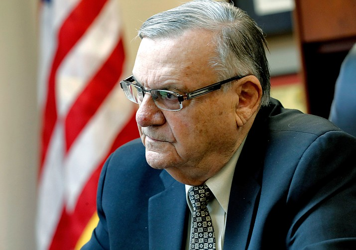 In this Jan. 10, 2018 file photo, former Maricopa County Sheriff Joe Arpaio speaks at his office in Fountain Hills, Ariz. The Justice Department won't appeal the court-ordered appointment of a special prosecutor to defend a ruling that refused to erase Arpaio's criminal record after he was pardoned. The special prosecutor's appointment came after the Justice Department refused to defend a judge's ruling that dismissed the lawman's case but refused to expunge his record. (Matt York/AP, file)
