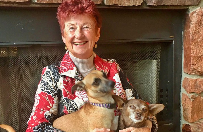 Edie Knell with her two dogs, Max and Yoda