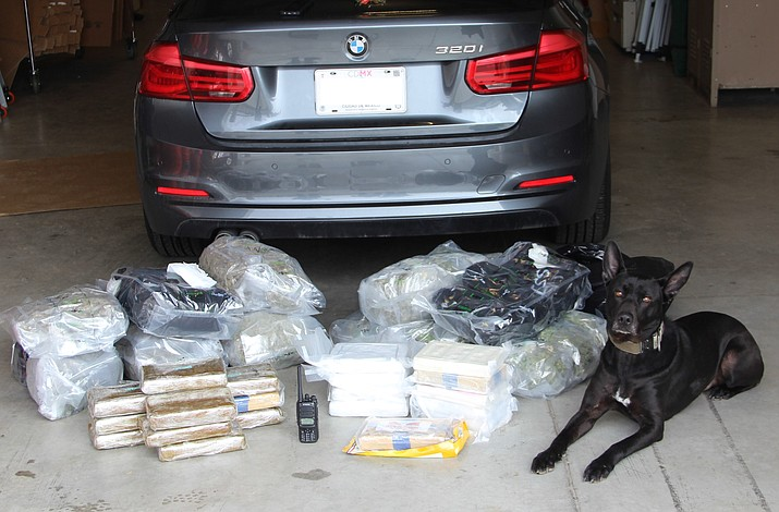 Cocaine and marijuana seized by the Yavapai County Sheriff's Office's K9 unit after a vehicle search in March 2018. The agency's K9s are under the supervision of Partners Against Narcotics Trafficking (PANT) and work directly with PANT detectives. (Yavapai County Sheriff's Office/Courtesy)