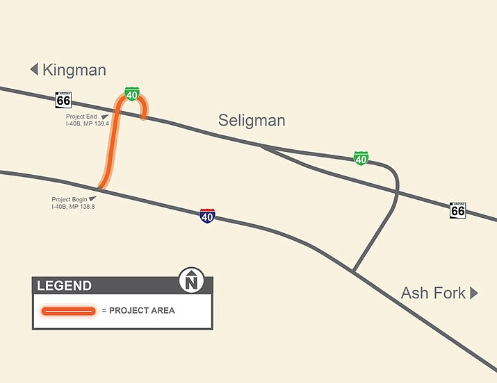 Arizona Department of Transportation advises motorists traveling on Interstate 40 to plan ahead and be prepared to merge into open travel lanes near Seligman at the I-40B overpass bridge at exit 121. (Arizona Department of Transportation photo)