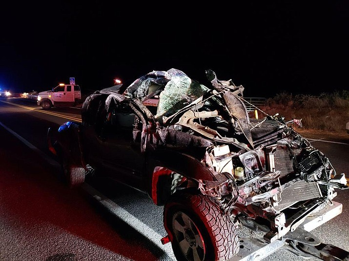 A 26-year-old Prescott woman's body was located about 100 yards from this wreckage, a black 2007 Toyota Tacoma, Friday night, Jan. 4, 2019. She died in an apparent rollover on Iron Springs Road, near the Skull Valley Cemetery. (YCSO/Courtesy)