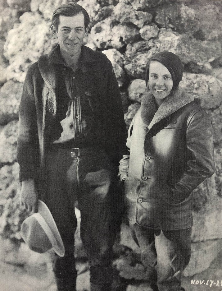 Glen and Bessie Hyde at their Bright Angel stopover. (Photo by Emery Kolb, provided by Emery Kolb Collection at Northern Arizona University)