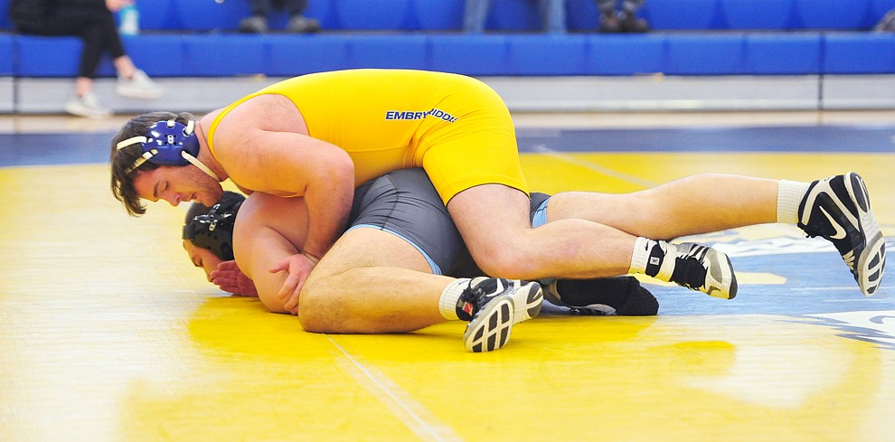 Embry Riddle's Garette Branson, top, wrestles Cortez Rodelo as the Eagles take on the Western Pacific Knights in a wrestling dual Monday afternoon in Prescott. (Les Stukenberg/Courier).