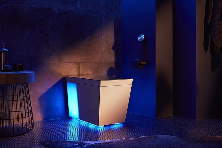 This undated product image provided by Kohler shows Kohler's smart toilet Numi. CES 2019, the gadget show opening Tuesday, Jan. 8, will showcase many internet-connected devices. Kohler's Numi will respond to voice commands to raise or lower the lid, or to flush. You can do it from an app, too. The company says it's all about offering hands-free options in a setting that's very personal for people. The toilet is also heated and can play music and the news through its speakers. (Kohler via AP)