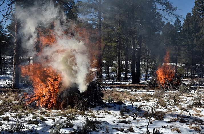 The Arizona Dept. of Forestry is conducting pile burns west of Williams Jan. 7.