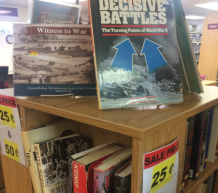 History books on sale through the month of January at the Chino Valley Public Library, 1020 W. Palomino Road. Hardback books are 50 cents each, and paperbacks are 25 cents each. All proceeds benefit the library. (Jason Wheeler/Review)