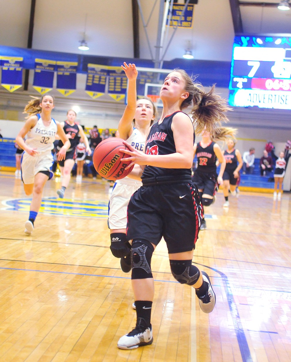 Bradshaw Mountain's Brinlee Kidd takes a steal to the hoop as the Bears beat the Prescott Badgers Tuesday, January 8, 2019 in Prescott. (Les Stukenberg/Courier).