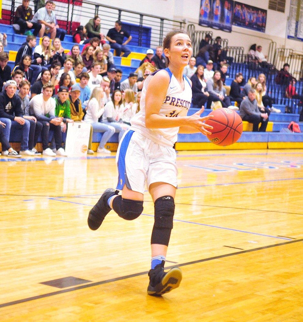 Prescott's Hollie Dalton takes a fast break to the basket as the Badgers hosted Bradshaw Mountain Tuesday, January 8, 2019 in Prescott. (Les Stukenberg/Courier).