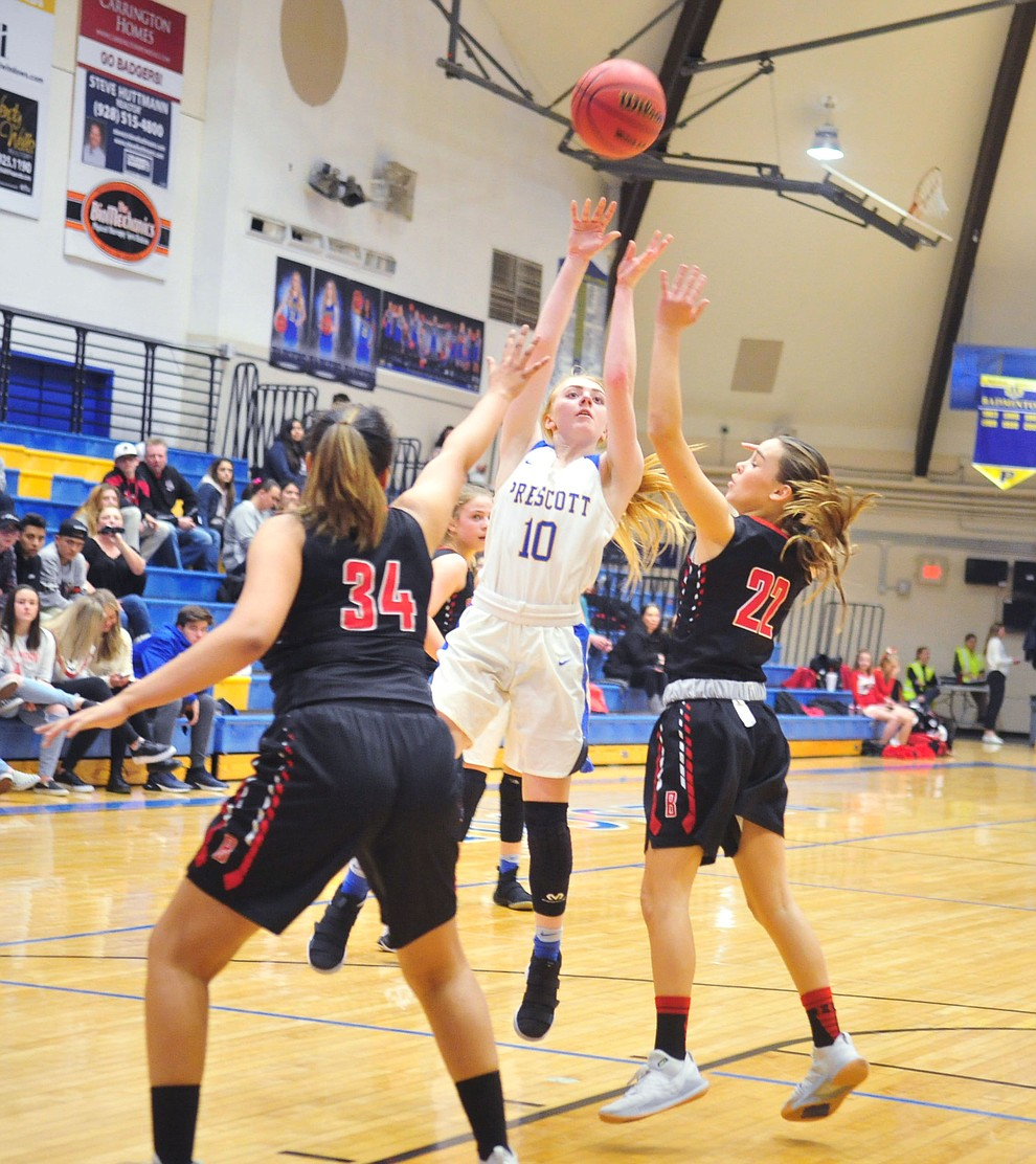 Prescott's Kendall Crockett takes a contested shot as the Badgers hosted Bradshaw Mountain Tuesday, January 8, 2019 in Prescott. (Les Stukenberg/Courier).