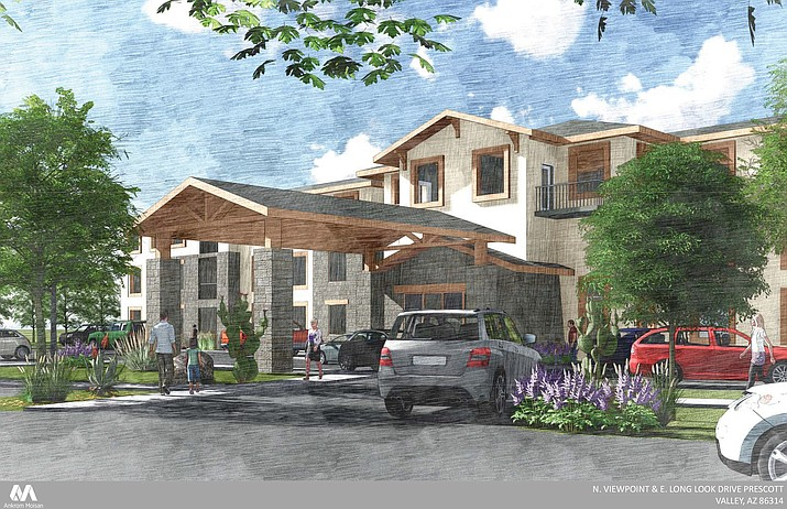 A proposed three-story senior living facility in Prescott Valley would include 25 individual living apartments, 75 assisted living units, and memory care for possibly 30 residents. (Courtesy)