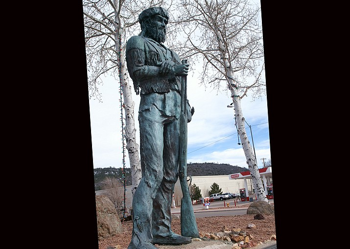 A statue of Bill Williams created by B.R. Pettit was erected in 1980 in Monument Park in Williams. Bill Williams was a trapper and preacher for whom the city of Williams is named.  (Public Domain)