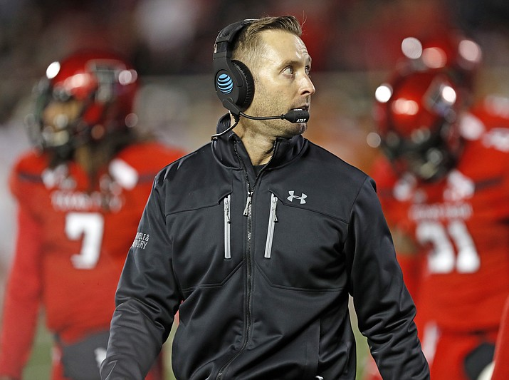 In this Nov. 10, 2018, file photo, Texas Tech Kliff Kingsbury walks off the field during the first half of an NCAA college football game against Texas, in Lubbock, Texas. Former Texas Tech quarterback Kliff Kingsbury is again on the hot seat as coach of his alma mater. (Brad Tollefson/AP, file)