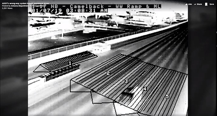 The Arizona Department of Transportation is crediting its thermal camera-based wrong-way vehicle detection system with stopping an accident from happening on a Phoenix freeway. (ADOT video screenshot)