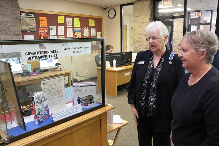 """Kathryn Andrews, left, and Jamie Mickalowski, Daughters of the American Revolution, is hosting a joint Colorado River Chapters meeting at 10:30 a.m. Saturday on a program about """"Colonial Education."""" (Daily Miner file photo)"""