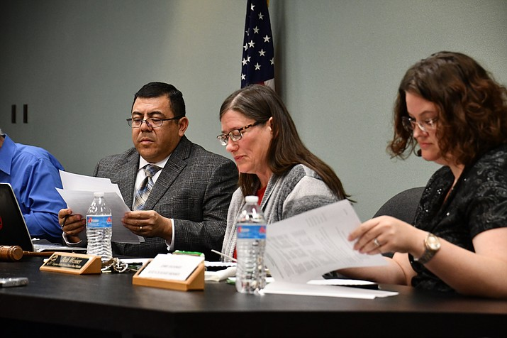 Kingman Unified School District board discussed the current drug policy for students. From left to right: Charles Lucero, Beth Weisser, Jennifer Shumway (Photo by Vanessa Espinoza/Daily Miner)