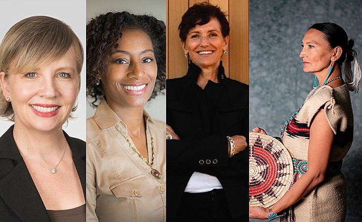 From left: Kaycee Palumbo, President of WAVE Womens Affinity Network, Mesha Davis Chief Executive Officer of the Arizona Womens Foundation, Maria Giese, film writer, director and challenger in the ACLU investigation into Hollywood gender bias, Jeneda Benally - award winning singer, musician, actor, and Native American activist
