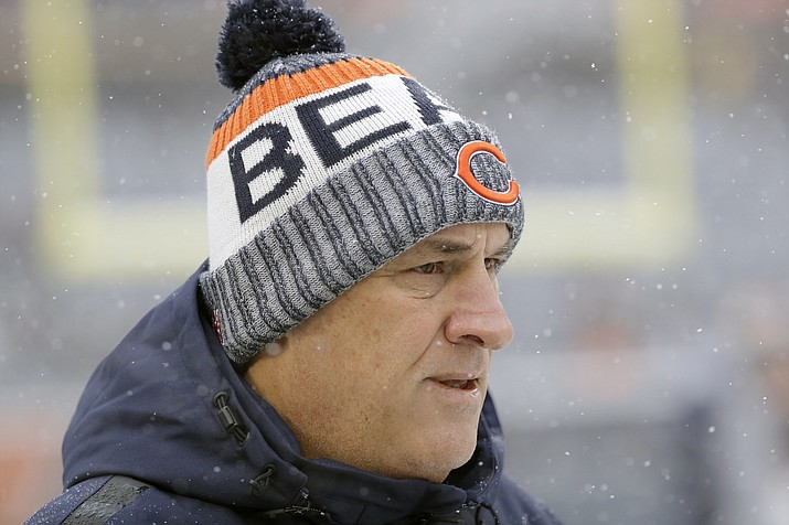In this Dec. 24, 2017, file photo, Chicago Bears defensive coordinator Vic Fangio watches before an NFL football game against the Cleveland Browns, in Chicago. A person with knowledge of the decision tells The Associated Press that Denver Broncos general manager John Elway has decided on Chicago Bears defensive coordinator Vic Fangio as his new head coach. The person spoke on condition of anonymity Wednesday, Jan. 9, 2019, because the team hadn't announced the hiring. (Nam Y. Huh/AP, file)
