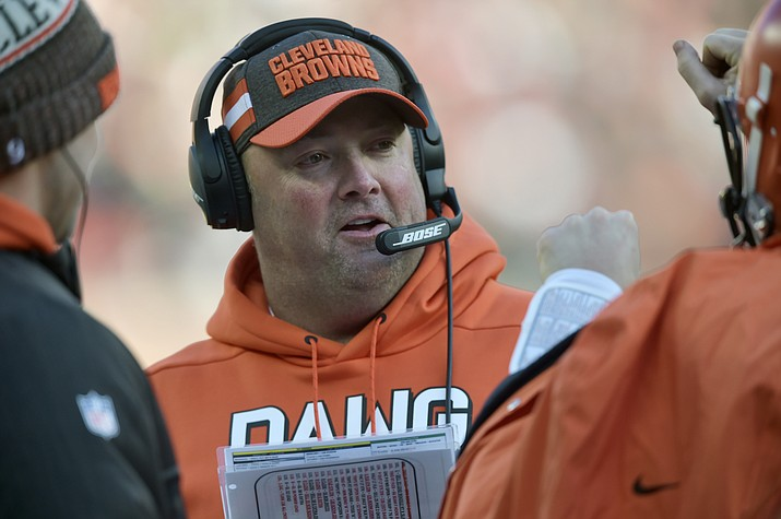 In this Dec. 9, 2018, file photo, Cleveland Browns offensive coordinator Freddie Kitchens stands on the sideline during an NFL football game against the Carolina Panthers, in Cleveland. A person familiar with the decision says the Cleveland Browns are hiring Freddie Kitchens as their coach.  Kitchens, who had a dazzling eight-week run as the team's interim offensive coordinator, is finalizing his contract and will be named Cleveland's ninth coach since 1999, said the person who spoke Wednesday, Jan. 9, 2019, to the Associated Press on condition of anonymity because the team is not commenting on the imminent hire. (David Richard/AP, file)