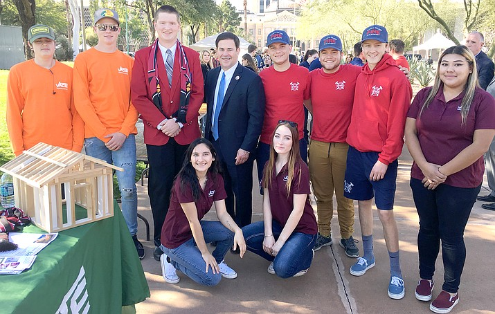 Students from Valley Academy of Career and Technology Education in Cottonwood visit Gov. Doug Ducey on Monday, Jan. 7 in Phoenix at the state legislature's inauguration. Photos courtesy Valley Academy of Career and Technology Education